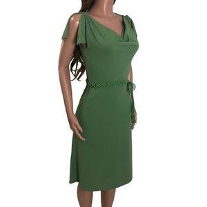 🌸 EXPRESS Green A-line Flutter Sleeve Midi Dress